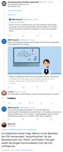 """Keine Sendezeit und die Frage, was """"aussichtsreich"""" nun bedeutet? Screen Twitterdebatte mit MDR-Presse"""