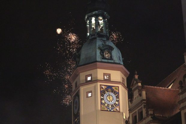 Leipzig, Silvester 2019, Altes Rathaus am Markt. Foto: Jan Kaefer