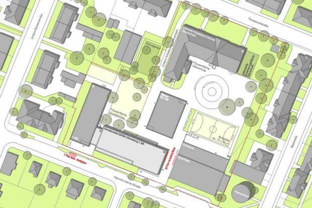 Der Schulcampus in Böhlitz-Ehrenberg mit dem Neubau (hellgrau). Karte: Stadt Leipzig