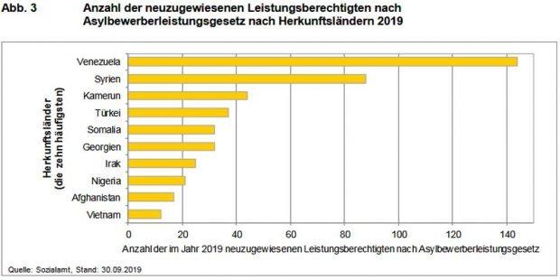 Neuzugewiesene Leistungsberechtigte nach Ländern (Januar bis September 2019). Grafik: Stadt Leipzig