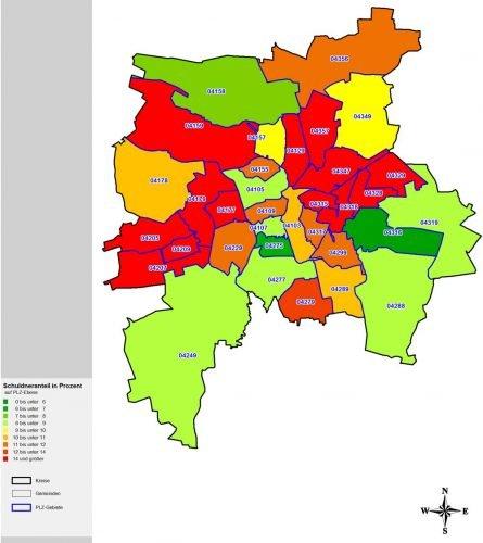 Schuldnerquoten nach Postleitzahlbezirken in Leipzig. Karte: Creditreform