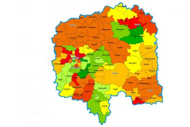 Schuldnerquoten in Westsachsen. Karte: Creditreform
