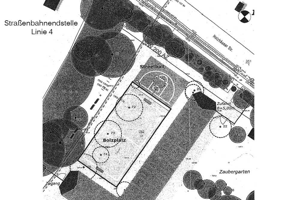 Skizze für den Bolzplatz an der Holzhäuser Straße. Grafik: Stadt Leipzig