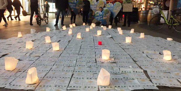Klimawunschzettel-Aktion in der Leipziger Petersstraße. Foto: Parents for Future Leipzig