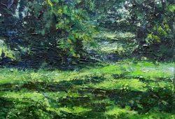 »Park XI«, Öl auf Leinwand, 30 x 30 cm, 2012. © Daniela Hussel