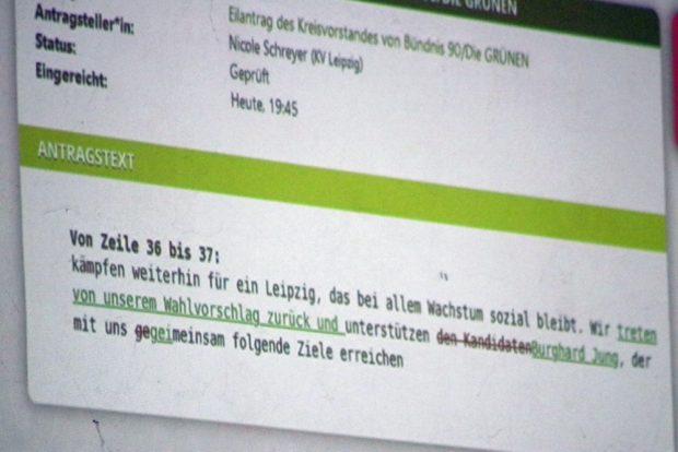 Während der Vorbereitungen der Beschlusslage der Grünen. Foto: L-IZ.de