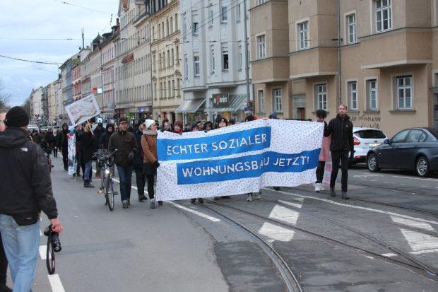 Demo für sozialen Wohnungsbau am 18. Januar. Foto: L-IZ.de