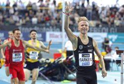 Aller guten Dinge sind drei. Robert Farken wird erneut Deutscher Hallenmeister über 800 Meter. Foto: Jan Kaefer