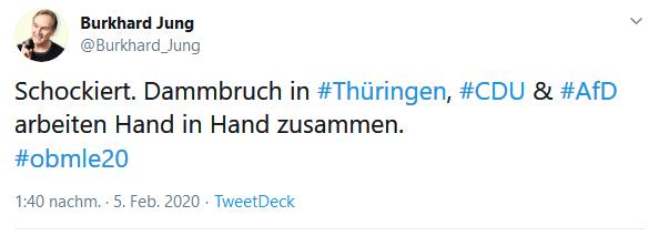 Burkhard Jungs Twitter-Account mit einer reaktion auf die Thüringen-Wahl. Screen Twitter