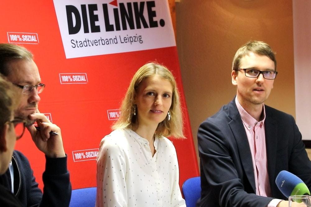 Kay Kamieth, Franziska Riekewald und Adam Bednarsky (alle Die Linke) bei der Pressekonferenz am 6. Februar 2020 im Liebknechthaus. Foto: L-IZ.de