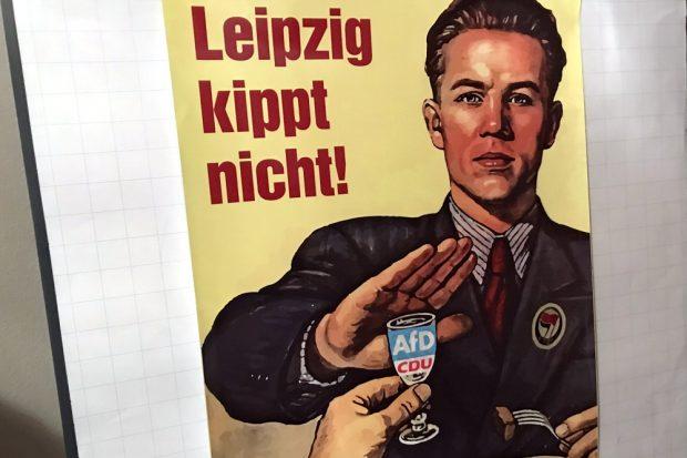 Wahlplakate mit diesem Motiv sorgen offenbar für Aufregung in Leipzig. Foto: L-IZ.de