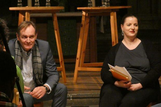 Burkhard Jung und Ute Elisabeth Gabelmann bei der 1. Townhall am 23. 02. in der Peterskirche. Foto: L-IZ.de