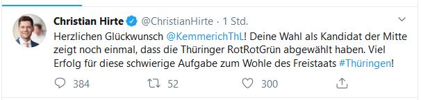 Christian Hirte mit einer Gratulation nach Thüringen. Screenshot Twitter