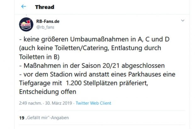 Tweet vom 30. März 2020 bei RB-Fans zur Tiefgarage als beste Lösung. Screen Twitter
