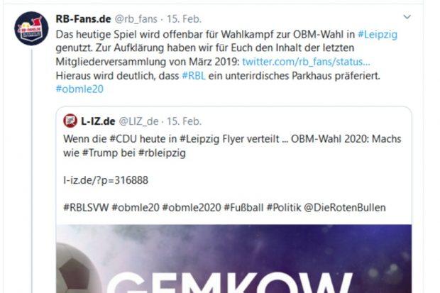 Tweet von RB-Fans am 15. Februar 2020 zur Flyeraktion der CDU (L-IZ.de berichtete). Screen Twitter
