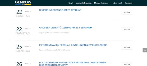 Ein Veranstaltungskalender voller Wahlstände ohne Abendtermine und eine Lücke. Screen: gemkow2020.de
