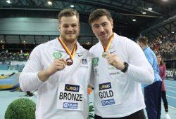 Dennis Lewke (links) und David Storl sorgten am Samstag im Kugelstoßen für die ersten (und bisher einzigen) Leipziger Medaillen. Foto: Jan Kaefer