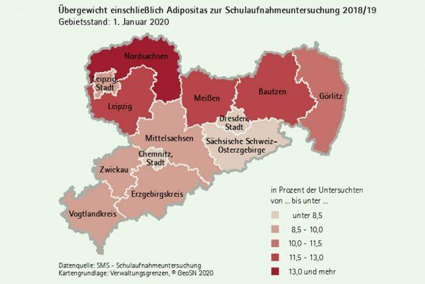 Adipositas bei Vorschuluntersuchungen in Sachsen. Grafik: Freistaat Sachsen, Statistisches Landesamt
