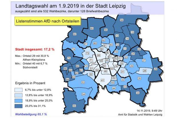 AfD-Wahlergebnisse zur Landtagswahl im September 2019. Karte: Stadt Leipzig, Quartalsbericht III/ 2019