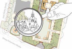 Was wird aus dem Park an der Auferstehungskirche? Grafik: Magistralenmanagement Georg-Schumann-Straße