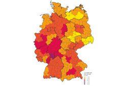 Demokratiezufriedenheit im Bundesgebiet. Karte: Konrad-Adenauer-Stiftung