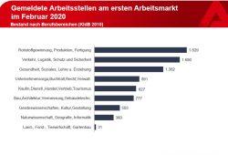 Gemeldete Stellen nach Branchen im Februar 2020. Grafik: Arbeitsagentur Leipzig
