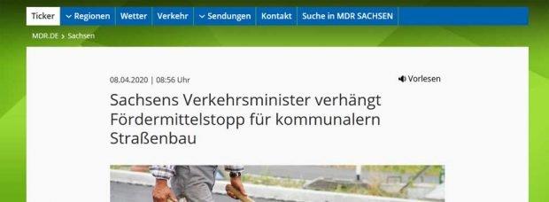 """Die """"Förderstopp""""-Meldung des MDR.- Screenshot: L-IZ"""