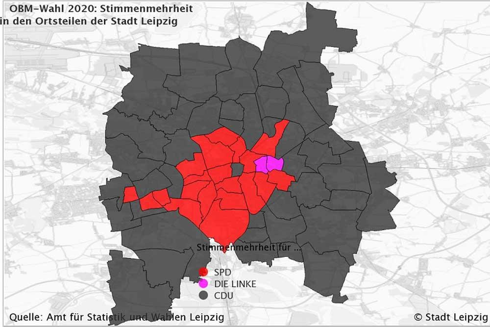 Die jeweils höchsten Stimmenanteile in den Wahlbezirken. Grafik: Stadt Leipzig