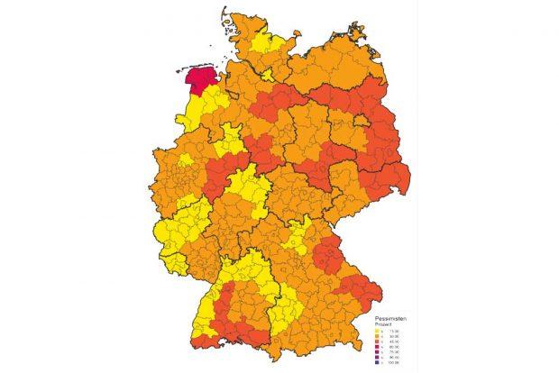 Pessimistische Einstellungen im Bundesgebiet. Karte: Konrad-Adenauer-Stiftung