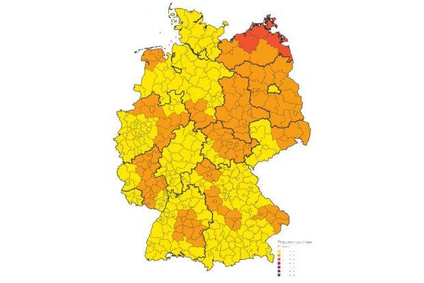 (Rechts-)populistische Einstellungen im Bundesgebiet. Karte: Konrad-Adenauer-Stiftung