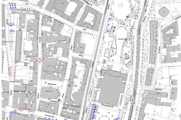 Neue Bankstandorte (rot) in der Grimmaischen, der Nikolai- und der Reichsstraße. Karte: Stadt Leipzig