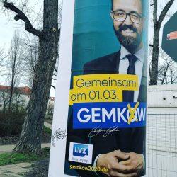Die Gemkow-LVZ? Eines der Plakate, hier in der Bernhard Göring Straße. Foto: straßenstriche.net