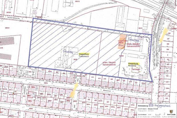 Die Grundstücke, die die Stadt an der Schulze-Delitzsch-Straße kaufen will (schraffiert). Karte: Stadt Leipzig