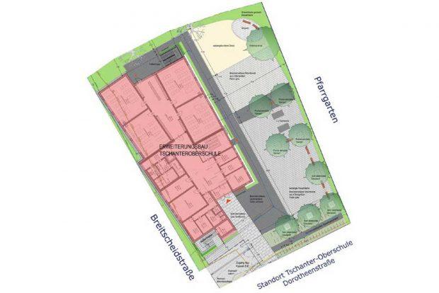 Der Lageplan des neuen Gebäudes der Friedrich-Tschanter-Oberschule in Eilenburg. Grafik: Giersdorff Architekten