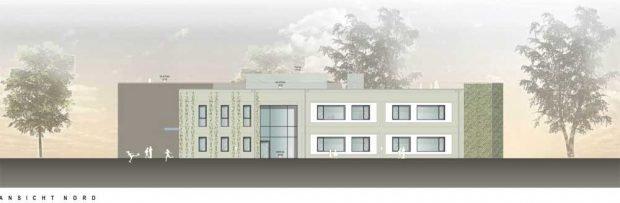 Die Nordansicht des neuen Gebäudes. Grafik: Giersdorff Architekten