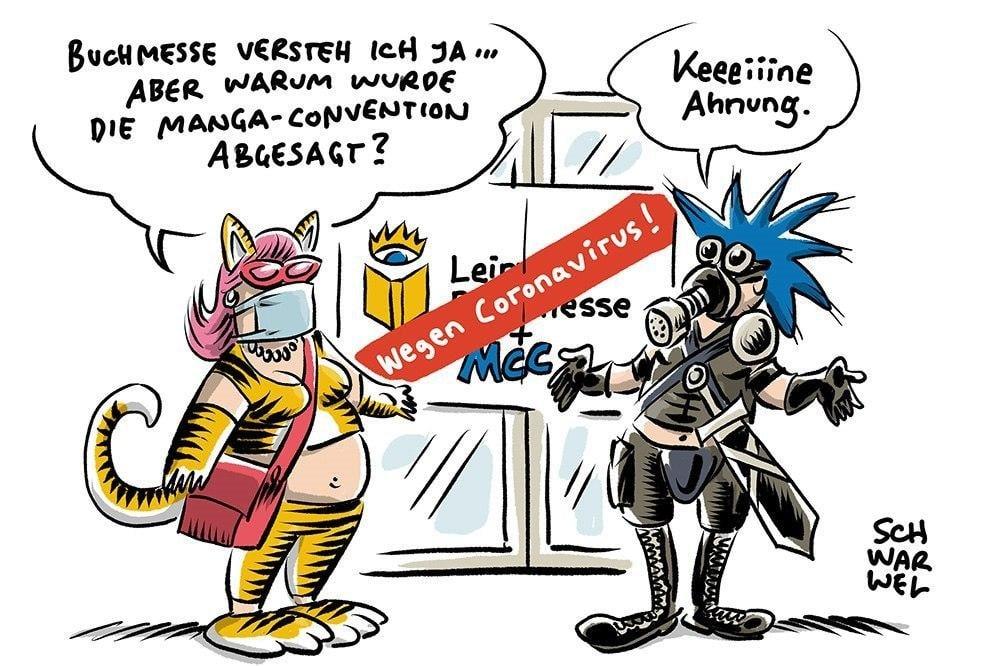 """Buchmesse, Manga-Comic-Con und """"Leipzig liest"""" fallen aus. Karikatur: Schwarwel"""