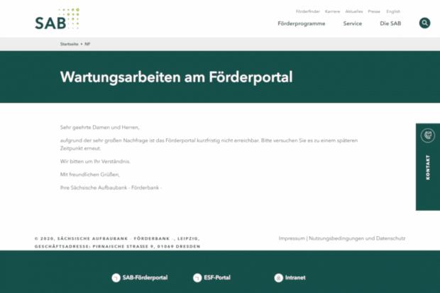 Diese Fehlermeldung bekamen Unternehmer und Selbstständige angezeigt, die am Montag die Soforthilfe des Bundes bei der Sächsischen Aufbaubank beantragen wollten. Screenshot: L-IZ.de