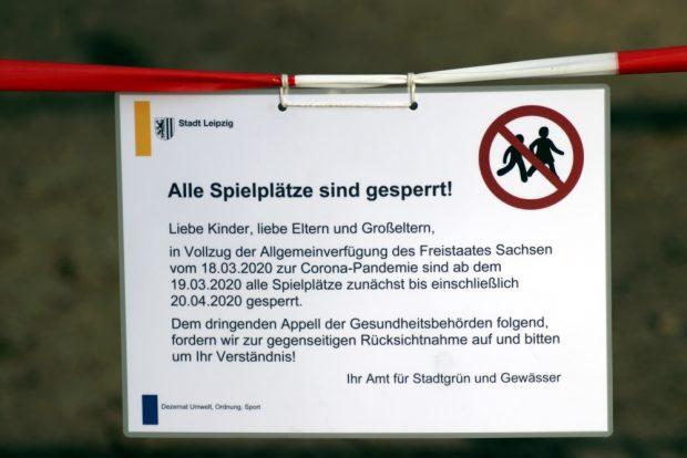 Die Spielplätze sind nun alle gesperrt - wa auch eingehalten wurde heute. Foto: L-IZ.de