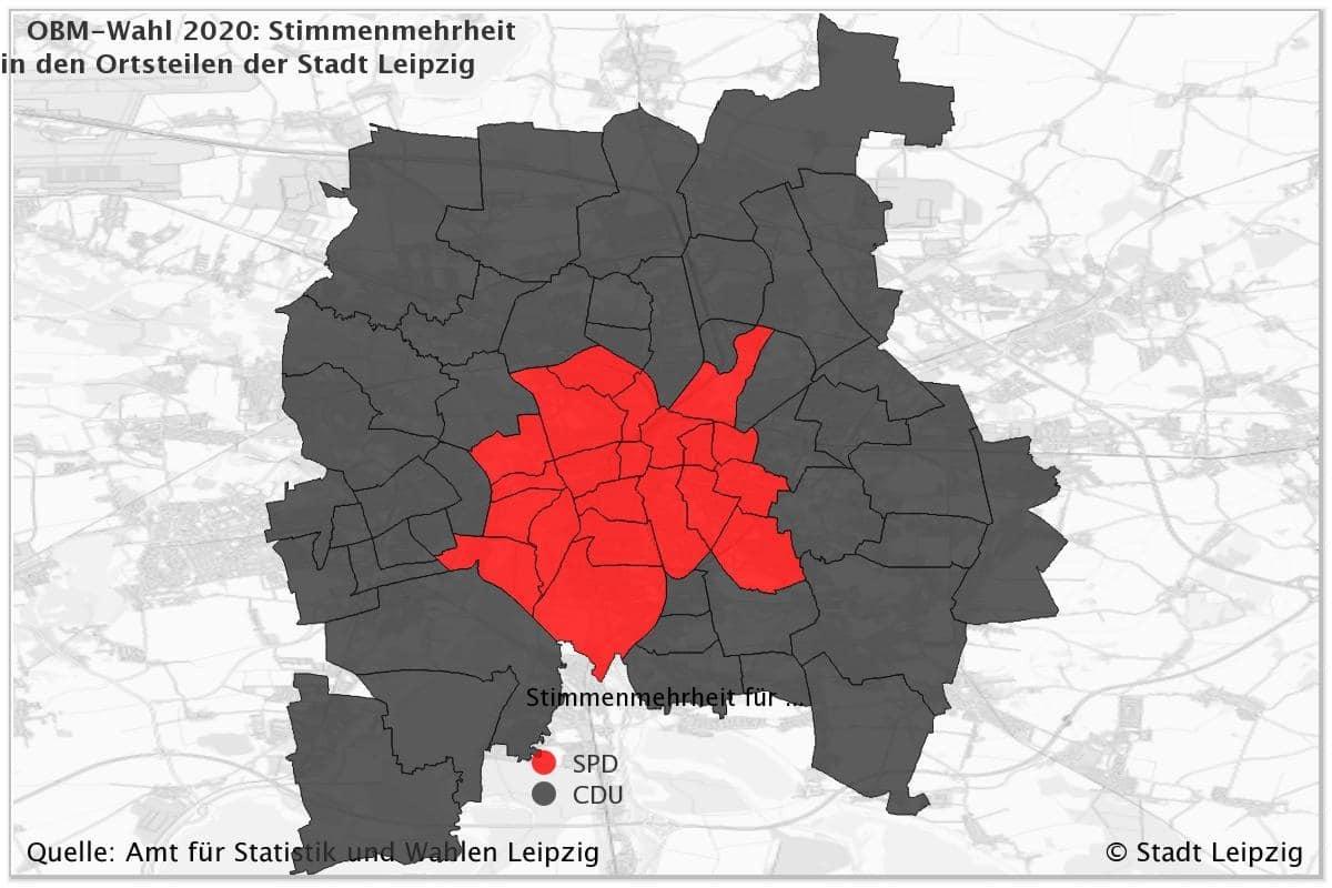 Stadtteilkarte der Stimmenverteilungen 2020 in Leipzig zur OBM-Wahl. Bild: Leipzig.de