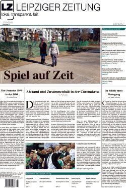 Die LEIPZIGER ZEITUNG Nr. 77, seit 27. März 2020 im Handel. Foto: Screen Titelblatt