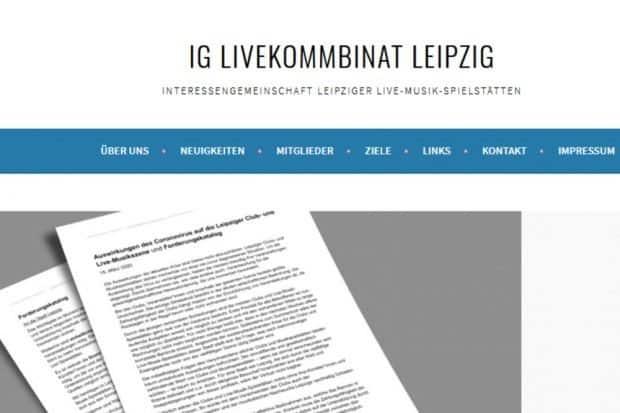 """Das """"Livekommbinat"""" - ein Zusammenschluss Leipziger Spielstätten und Clubs. Foto: Screen Webseite livekommbinat.de"""