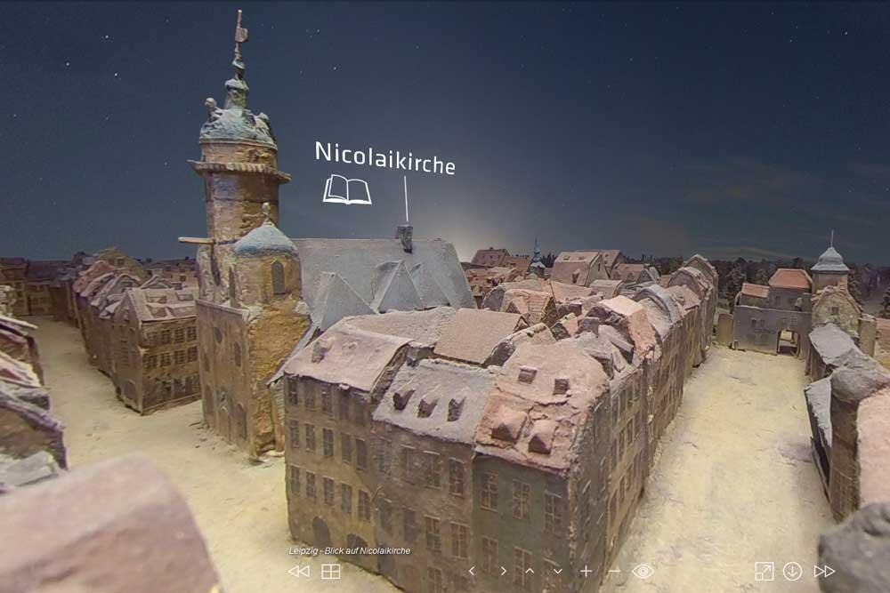 Bach-Ort Nikolaikirche im virtuellen Bachrundgang. Foto: Screenshot www.jsbach.de/Bach-Archiv Leipzig