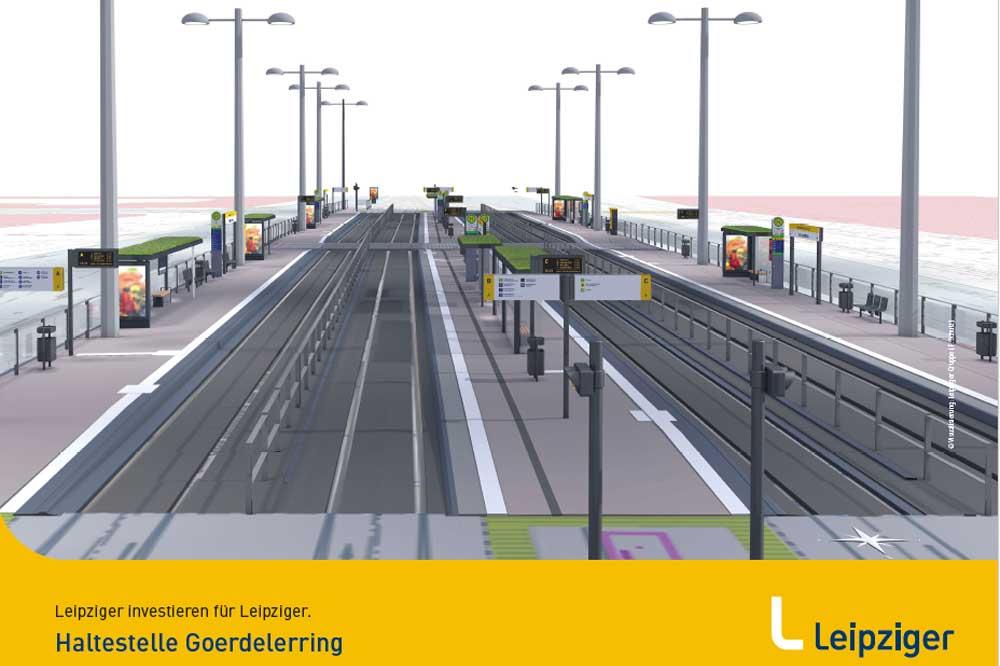Die neue Haltestelle Goerdelerring. Visualisierung: LVB