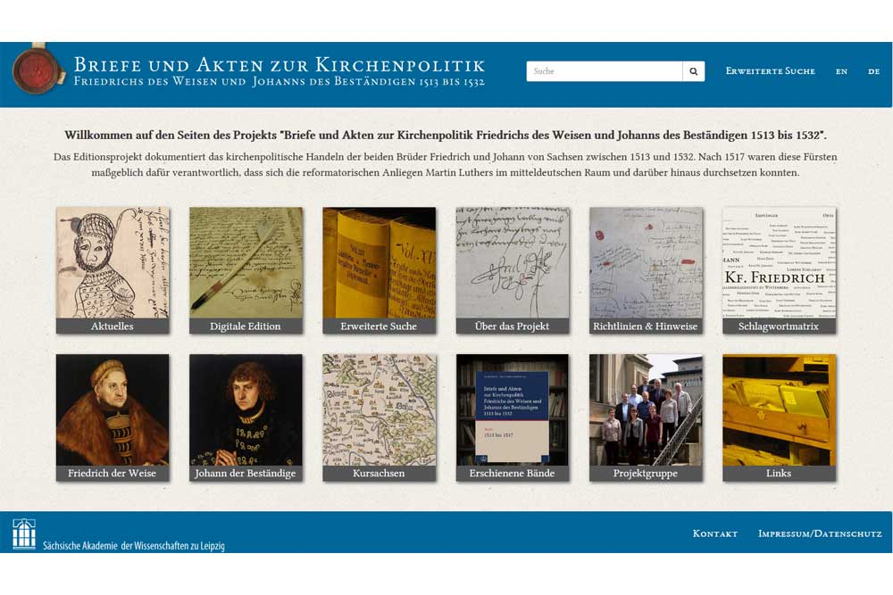 Startseite der Datenbank zur Kirchenpolitik Friedrich des Weisen und Johann des Beständigen. Screenshot: L-IZ