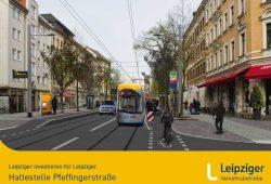 So wird die Haltestelle Pfeffingerstraße umgebaut. Visualisierung: LVB