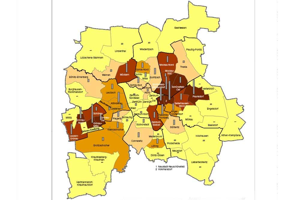 Anteil der Sozialgeldempfänger/-innen an den unter 15-Jährigen 2018. (Braun: über 30 %, Gelb: unter 10 %). Grafik: Stadt Leipzig, Sozialreport 2019