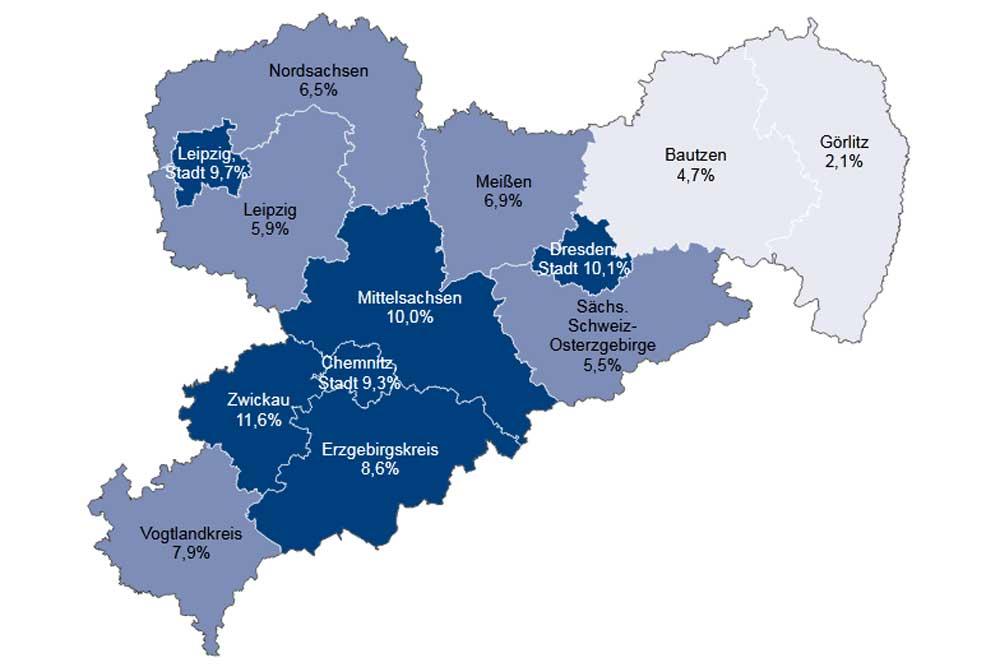 Gehaltsunterschiede in den sächsischen Kreisen. Grafik: IAB