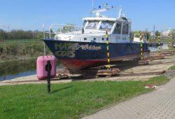 Besprühtes Boot der Wasserschutzpolizei Sachsen © Polizei Sachsen