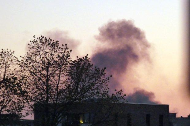 Brand am Abend des 21. April 2020 in Leipzig Schönau. Foto: Lucas Böhme