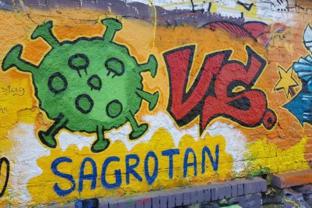 Das alles bestimmende Thema der letzten Wochen - als Graffiti in Leipzig verewigt. Foto: Marko Hofmann